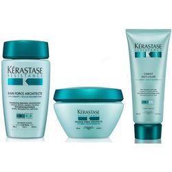 Kerastase Resistance - zestaw odbudowujący do włosów: Kąpiel 250 ml + Cement 200 ml + Maska 200 ml z kategorii Odżywianie włosów