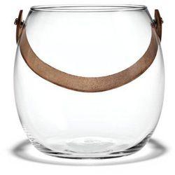 Szklana doniczka ze skórzanym uchwytem l - marki Holmegaard