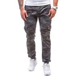 Moro-grafitowe spodnie joggery bojówki męskie Denley 1111 - GRAFITOWY, kolor niebieski