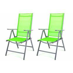 Komplet 2 krzesła aluminiowe Garth rozkładane ogrodowe zielone