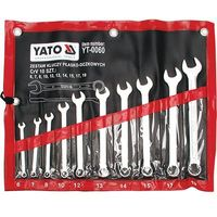 Klucze płasko-oczkowe, satynowe kpl 6-19, 10 cz. / YT-0060 / YATO - ZYSKAJ RABAT 30 ZŁ
