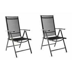 Zestaw 2 krzeseł ogrodowych z regulacją - czarnych