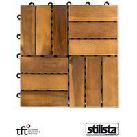 Stilista ® 11 sztuk drewniane płytki panele tarasowe balkon (30020251)