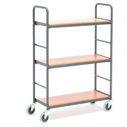 Wózek na segregatory DASH, 3 półki, 730x275 mm, wiśnia, czarny, 260510
