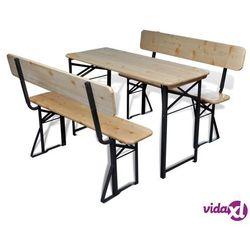 vidaXL Składany stół biesiadny z 2 ławkami, 118 cm, drewno jodłowe (8718475971153)