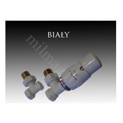 Zestaw zaworów grzejnikowych termostatycznych ELEGANT kątowy BIAŁY (zawór i głowica ogrzewania)