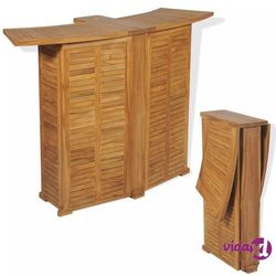 Vidaxl składany stolik barowy, 155x53x105 cm, lite drewno tekowe