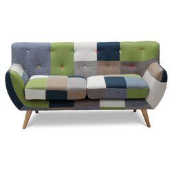 Vente-unique Sofa 2-osobowa serti - tkanina patchworkowa w odcieniach zielonych/niebieskich
