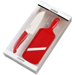 Nóż santoku 14 cm i krajalnica regulowana w zestawie od producenta Kyocera