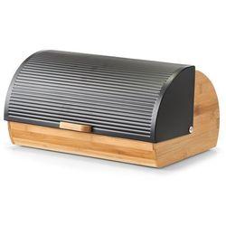 Chlebak bambusowy, pojemnik do przechowywania pieczywa z czarną, karbowaną przykrywką