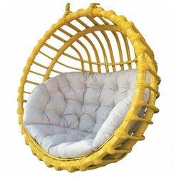 Producent: elior Żółty ogrodowy kosz wiszący z poduszką ecru - petro 2x