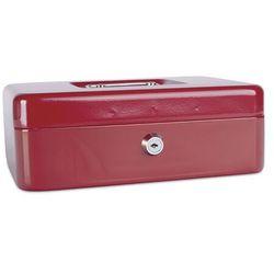 Kasetka na pieniądze DONAU, duża, 250x90x180mm, czerwona