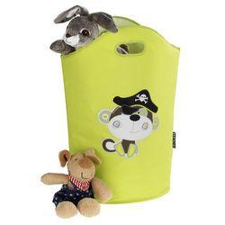 Uniwersalny kosz, na pranie, na zabawki, grafika z małpką piratem, kolor zielony, 2 uchwyty do przenoszenia, poliester, włóknina marki Wenko