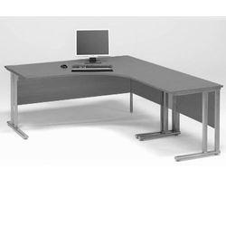 Zestaw biurko skrętne prawe + biurko dostawka Kolor blatu: Szary laminat z kategorii Biurka
