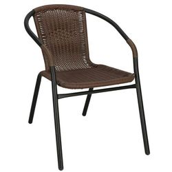 Springos Krzesło ogrodowe, plecione na taras metalowe ciemny brąz mix
