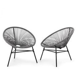las brisas chairs fotel ogrodowy zestaw 2 sztuk styl retro plecionka 4 mm szary marki Blumfeldt