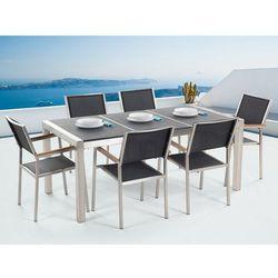 Stół granitowy czarny palony 180 cm z 6 czarnymi krzesłami - GROSSETO