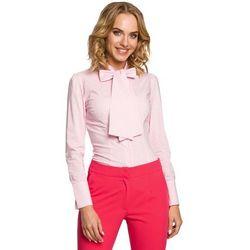 Koszula w różową kratkę z wiązaną kokardą, Moe, 36-42