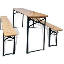 Vidaxl  stół biesiadny i ławki z drewna sosnowego, kategoria: zestawy ogrodowe