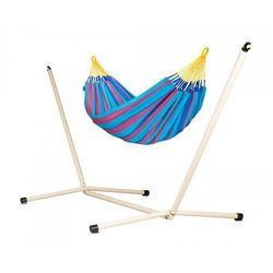 Zestaw hamakowy: hamak sonrisa ze stojakiem neptuno, niebiesko-fioletowy snh14nps125 marki La siesta