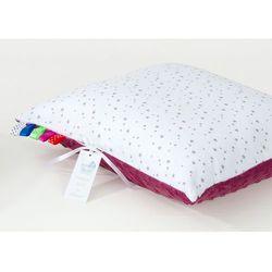 Mamo-tato poduszka minky dwustronna 40x60 mini gwiazdki szare na bieli / burgund