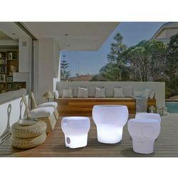 NEW GARDEN stołek CALVIN SOLAR bialy - LED, sterowanie pilotem (5900000046945)