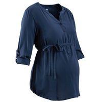 Bluzka ciążowa z długą plisą guzikową  ciemnoniebieski, Bonprix, 36-52