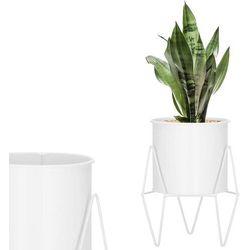 Stojak na kwiaty 22 cm z doniczką nowoczesny kwietnik loft biały mat (5907719419008)