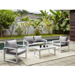 Vente-unique Salon ogrodowy kiribati z aluminium i sznura: 2-osobowa sofa, 2 fotele i ława