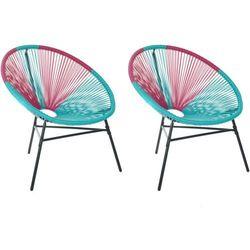 Beliani Zestaw 2 krzeseł rattanowych różowo-turkusowe acapulco