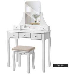SELSEY Toaletka Shalow Singuli 80 cm z prostokątnym lustrem i taboretem (5903025228259)