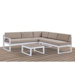 Vente-unique Salon ogrodowy palaos – ława i 6-osobowa sofa narożna z regulowanym kątem nachylenia jednego