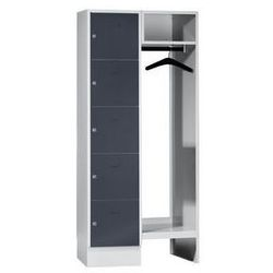 System garderob ze schowkami,5 schowków po lewej stronie, 5 wieszaków na ubrania