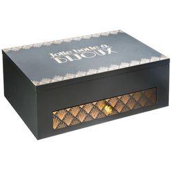 Atmosphera créateur d'intérieur Drewniane pudełko na biżuterię w kolorze szarym, organizer na biżuterię, pudełko na kosmetyki, kuferki na biżuterię, duża kasetka