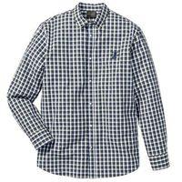 Bonprix Koszula z długim rękawem regular fit  niebiesko-oliwkowo-biały w kratę