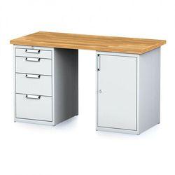 Stół warsztatowy mechanic, 1500x700x880 mm, 1x 4 szufladowy kontener, 2x szafka, szary/szary marki B2b partner