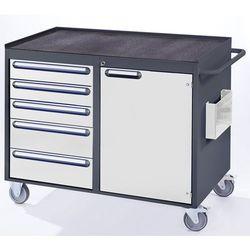 Stół warsztatowy, ruchomy, 5 szuflad, 1 drzwi, półka metalowa z matą gumową, ant