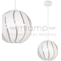 Wisząca lampa ażurowa globus skos 31003 metalowa oprawa z wycięciami zwis kula ball biała marki Sigma