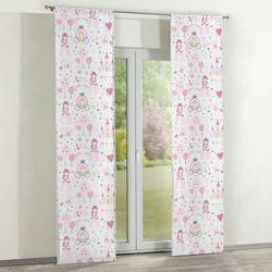 Dekoria Zasłony panelowe 2 szt., różowo-szare wzory na białym tle, 60 x 260 cm, Little World