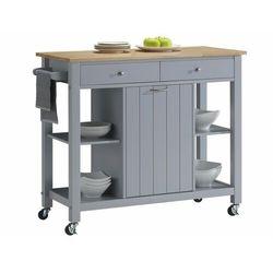 Barek kuchenny na kółkach haley - 1 szafka z drzwiczkami i 2 szuflady - kauczukowiec marki Vente-unique