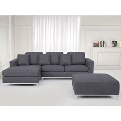 Sofa szara - sofa narozna P - tapicerowana – sofa z pufa - OSLO, produkt marki Beliani