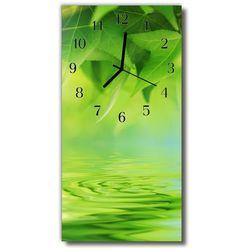 Zegar Szklany Pionowy Natura Liście wody zielony