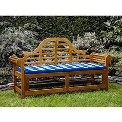 Ławka ogrodowa drewniana 180 cm poducha w niebiesko-białe zygzaki JAVA Marlboro (7105279797606)