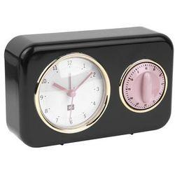 Budzik, zegar stojący NOSTALGIA black z timerem kuchennym by pt,, kolor czarny