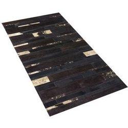 Dywan - brązowo - złoty - skóra - patchwork - 80x150 cm - ARTVIN (4260580924912)