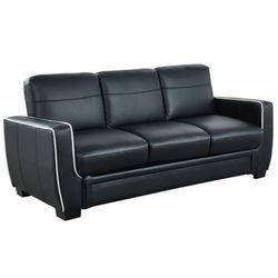 Sofa 3-osobowa naty, rozkładana, ze skóry syntetycznej – kolor czarny marki Vente-unique