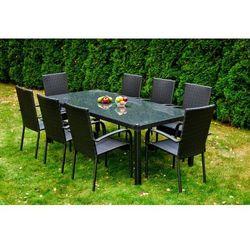 Komplet mebli ogrodowych stolik z krzesłami Friends z technorattanu czarny