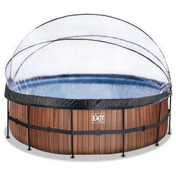 Basen okrągły z kopułą EXIT 450 x122 cm /brązowe drewno/