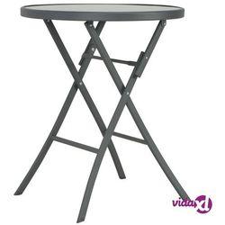 Vidaxl składany stół bistro, szary, 60 x 70 cm, szkło i stal (8718475716525)
