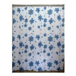 AWD INTERIOR Zasłonka prysznicowa biała w niebieskie kwiatki AWD02100847